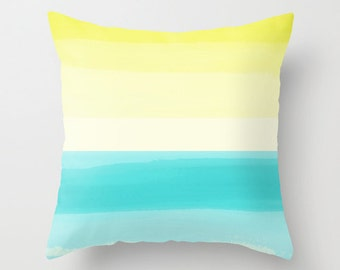 Abstract Throw Pillow Cover Turquoise Aqua Teal yellow Modern Home Decor Living room bedroom accessories Cushion Decorative Pillow