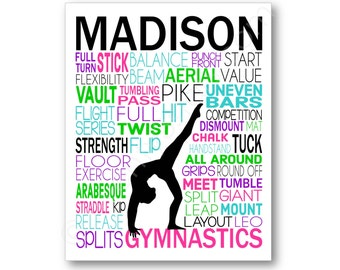 Gymnastics Poster Typography, Gymnast Gift, Gift for Gymnasts, Gymnastics Team Gift, Gymnast Art Canvas, Gymnast Print, Gymnastics Coach