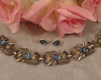 CORO Bracelet, Earrings, Repurposed Matching Design, Blue Starburst