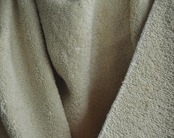 "Organic Cotton Terry Cloth, 60"" wide, Natural, Fabric by the Yard"