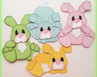 premade paper piecing easter bunnies set of 4 scrapbooking embellishment by My tear bears by Kira