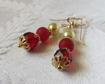 Gold Filled Red & Pearl Ball Drop Earring, GE-183