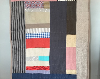 ready to ship -- lap throw --cotton  -- beachy minimalist color block quilt