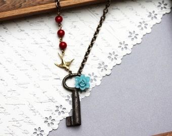 Small Skeleton Key Necklace Sparrow Antique key