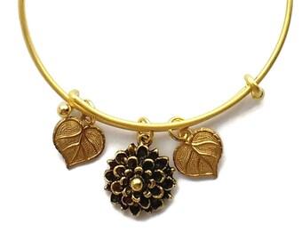 Gold Plated Bracelet Mum Flower Charm Leaves Charms Leaf Charm Expandable Stackable Charm Bracelet Nunn Design Charm, Floral Jewelry, Nature