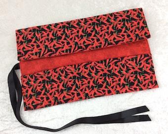 Handmade Makeup Pen Pencil Roll Crochet Knitting needles tool holder case Red Hot Chilli Peppers