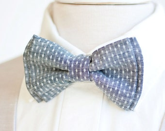 Bow Tie, Mens Bow Tie, Bowtie, Bowties, Bow Ties, Groomsmen Bow Ties, Wedding Bowties, Christmas Bow Tie, Ties - Indigo Chambray Dot