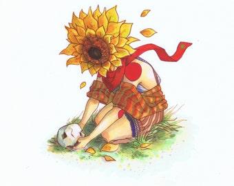 Human Bean - A5 Fine Art Print sunflower head botanical with skull - Inspired by gothic, dark humour, autumn