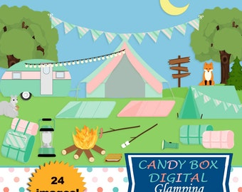 Glamping Clipart, Camping Clip Art - Commercial Use OK