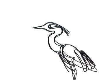 Heron Wire Sculpture, Bird Wire Art, Folk Art, 607639919
