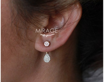 Silver Drop Ear Jackets Earrings  ,  925 Sterling Silver/Pair