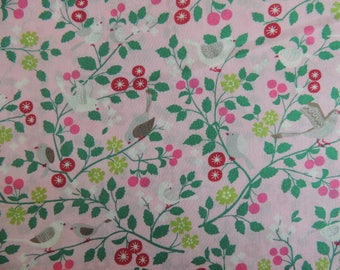 Pink floral background birds cotton fabric coupon