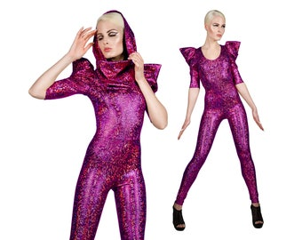 Signature Catsuit in Hot Pink Holographic, Futuristic Clothing, Metallic Catsuit, Custom Dance Costume, Jumpsuit, Aerial Silks,by LENA QUIST