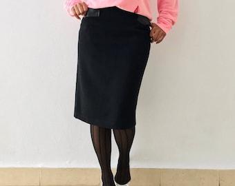 Vintage 90s Iceberg Black Wool Leather Straight Knee Length Pencil Skirt - S