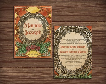 Art Nouveau: Wedding Invitation Suite;     Print at Home Wedding Invitations