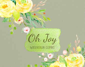 Watercolor Clipart Oh Joy - yellow rose flowers and decorative elements for instant download