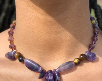 Real Amethyst necklace with swarvoski beads, handmade jewelry, one of a kind