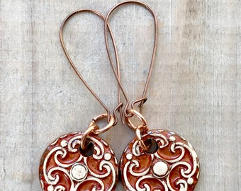 Ornate Earrings-Porcelain Jewelry-Kim OHara Designs-Ceramic Jewelry