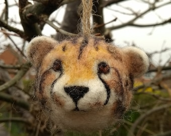 Needle felted cheetah -ornament, decoration, soft sculpture, collectable