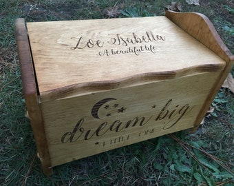 Dream big stars and moon toy chest, toy chest, keepsake chest, toy box