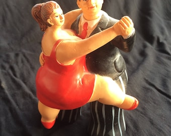Vintage Resin Cast Hand Painted Sculpture, Chubby Tango Dancing Couple Figurine - 1990