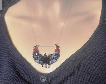 Pegasus with red roses  on invisible line, Floating necklace, Gothic, Steampunk, Fantasy, Metaphysical