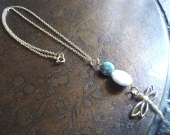 Blue Skies Dragonfly Lucite and Plastic Gold Plated Chain necklace