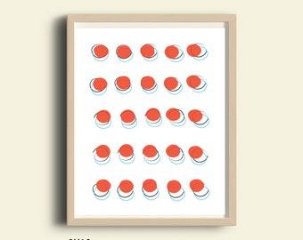 Dot art, polka dot art, PRINTABLE wall art, dot print, polka dot wall art, colorful geometric art, red, dot pattern, printable art, abstract