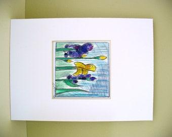 Iris Watercolor Floral yellow and purple Mini Art Original Flower Wall Decor