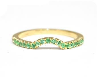 Green Emerald Wedding Band, Curved Wedding Ring, Emerald Gold Band, Curved Emerald Wedding Ring, Emerald Nesting Band, Anniversary Ring