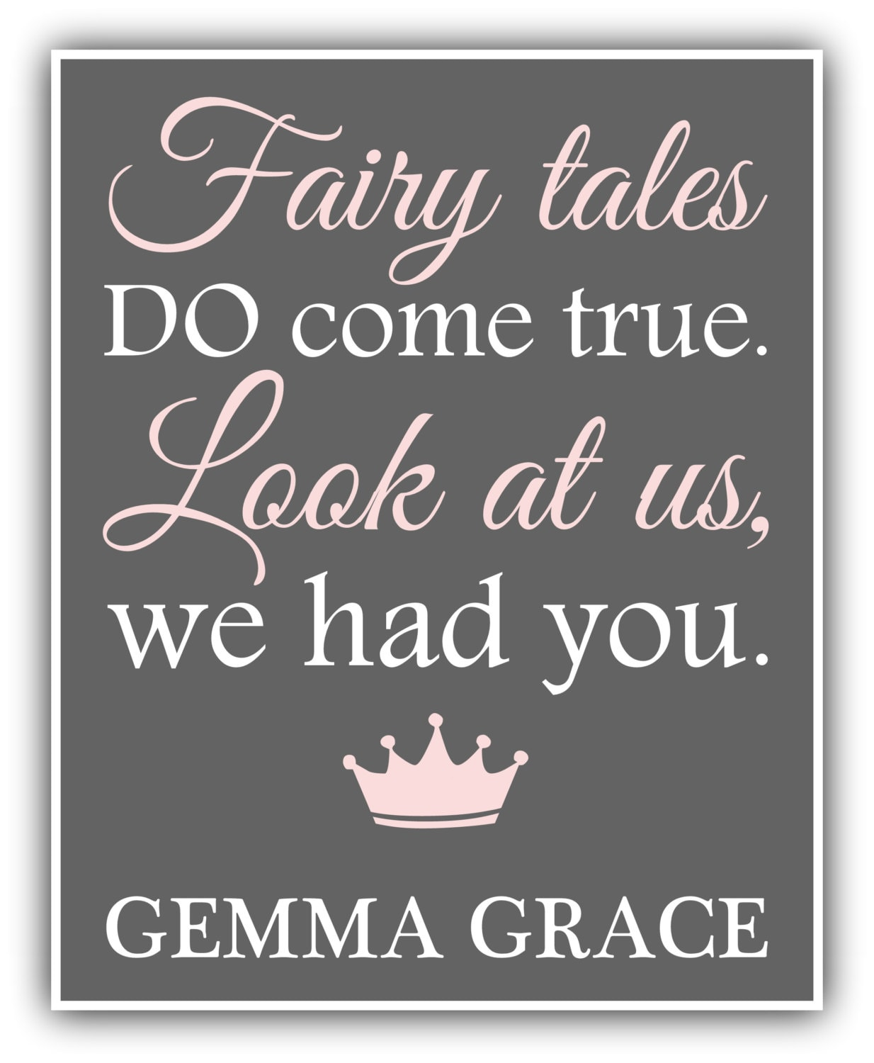 Baby Girl Daughter Quotes: FAIRY TALES Do Come True CUSTOM Print Girl Print Baby Decor