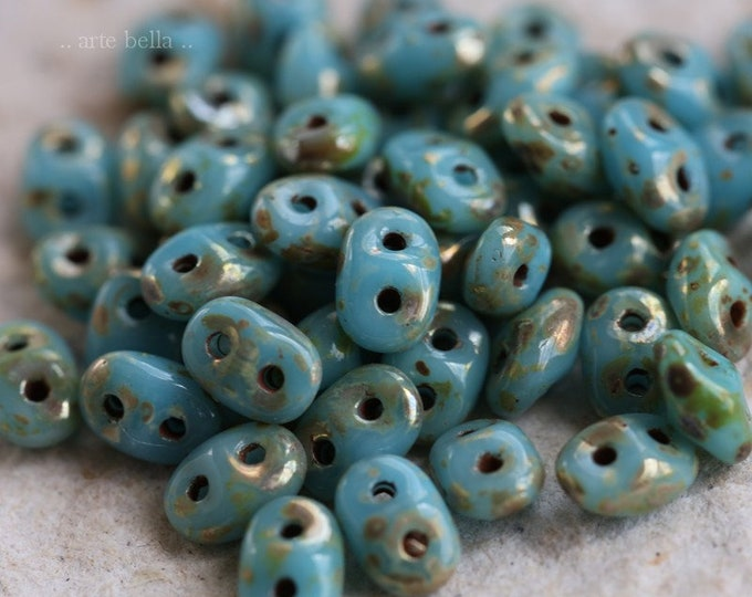 SKY HOOTS .. NEW 50 Premium Picasso Czech Glass Super Duo Seed Beads 5x2.5mm (6380-50)