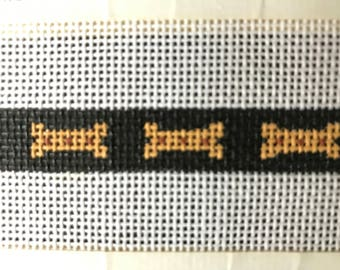 Handpainted Needlepoint Dog Bone Collar D7007