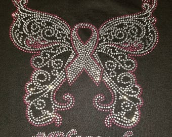Butterfly- Blessed- Pink Ribbon