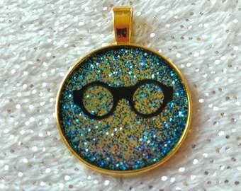 Hipster Nerd Blue Glitter Eyeglasses Pendant