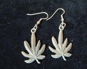 Sterling Silver Pot Leaf Dangle Earring