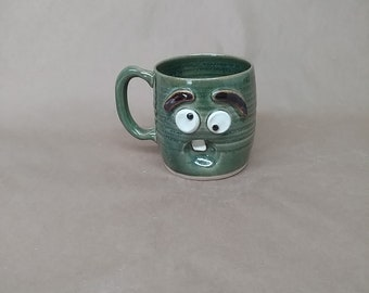 Extra Large Oversize 16 Ounce Coffee Cup Green. Stoneware Pottery Mug. Naive Face Mug. Wheel-Thrown Handmade Pottery. Microwave Safe Ug Chug