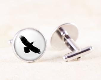 Raven Cufflinks - Silver Bird Cufflinks, Poe Raven Jewelry, Raven Photo Cuff Links, Bird Silhouette Jewelry, Raven Soaring Bird