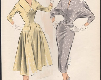 French 1950s vintage fashion design illustration original fifties lithograph art couture poster