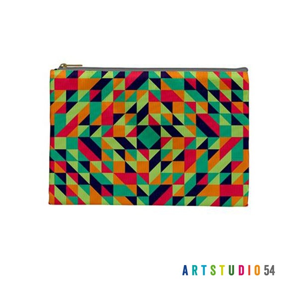 """Geometric Pattern - Orange, Green, Blue on a Pouch, Make Up, Cosmetic Case Travel Bag Pencil Case - 9"""" X 6"""" -  Large -  Made by artstudio54"""