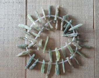Rough Raw Green Kyanite Stick Beads - 15mm - 26mm - Earthy, Rustic, Natural - Destash
