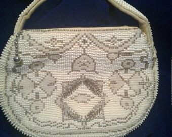 Small Zippered Beaded Clutch Bag - Czechoslovakia
