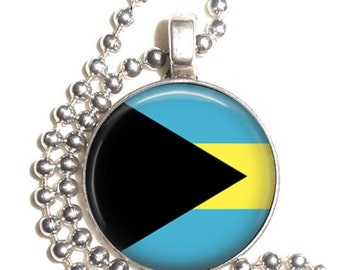 Bahamas Flag Art Pendant, Earrings and/or Keychain, Round Photo Silver and Resin Charm Jewelry, Flag Earrings, Flag Key Fob
