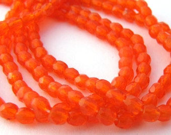 NEW Hyacinth Orange 3mm Facet Round Czech Glass Fire Polished Beads 50pc #2536