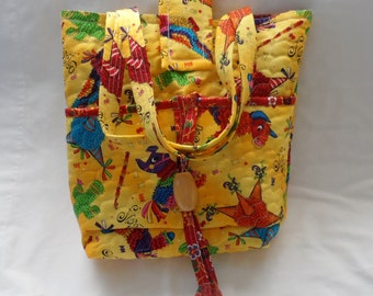 LIGHTWEIGHT SUMMERY TOTE Bag / Hand Made Tote Bag With Pockets / Sturdy and Comfortable Strap Handles / Bright and Cheerful Quilted Tote Bag