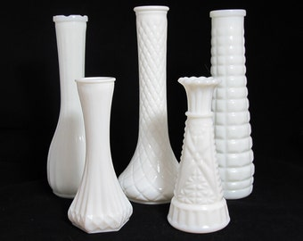 Vintage Milk Glass Vases - The Madeline Collection - Set of 5 Milk Glass Vases, Instant Collection, Hand Styled - Wedding Decor Centerpiece
