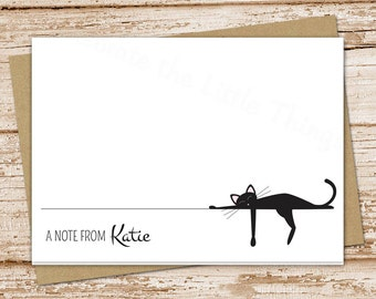 personalized black cat note cards . cat stationery . stationary . folded cards . cat notecards . siamese cat . set of 8