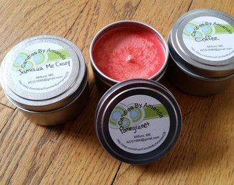 6oz Scented Soy Wax Tin Candles, Soy Wax Scented Candles, Gifts for Her, Wedding Favors, Shower Favors, Tin Candles, Basket Stuffers, Gift