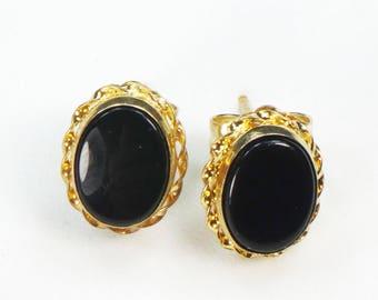 Vintage 14k Black Onyx Earrings Gold Earrings Onyx Post Back Earrings Onyx Oval Earrings Stud Earrings Black and Gold