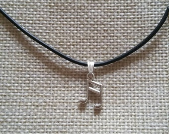 Music Note Silver Pendant on a Choker... Music Lover... Comes with a free gift bag!